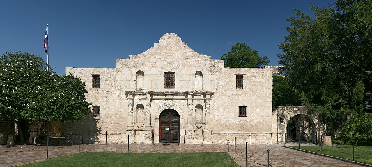 The Alamo from the exterior on a sunny day.
