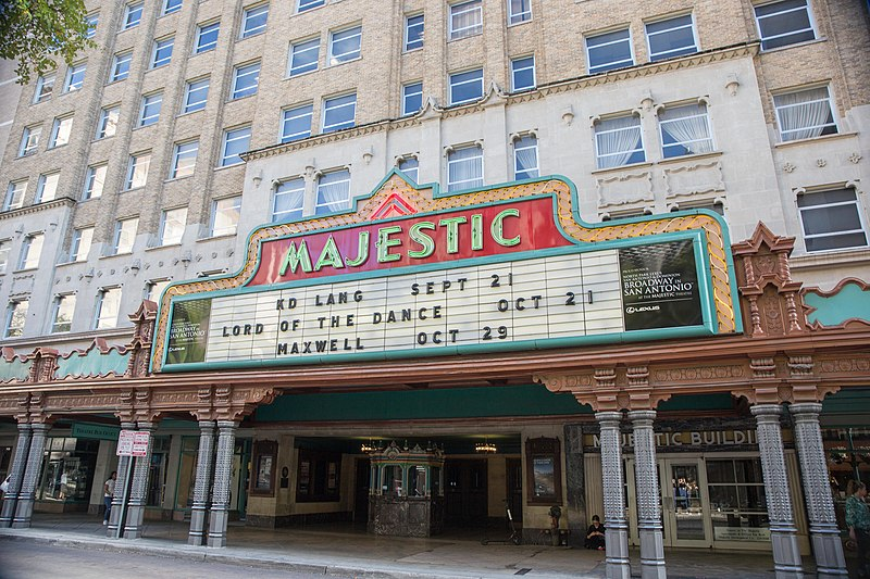 Majestic Theatre exterior photo showing the ornate awaning and the several floors of windows above