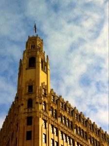 Gothic spire of the Emily Morgan Hotel.