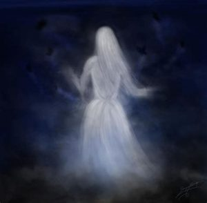 Transparent Ghost Woman wearing a white dress.